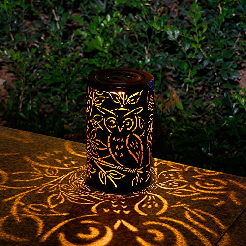 Solar Lantern Outdoor Garden Hanging Lights Metal Waterproof LED Table Lamp for Garden Yard Patio Lawn Party Decorative (Lights Patio Owl)
