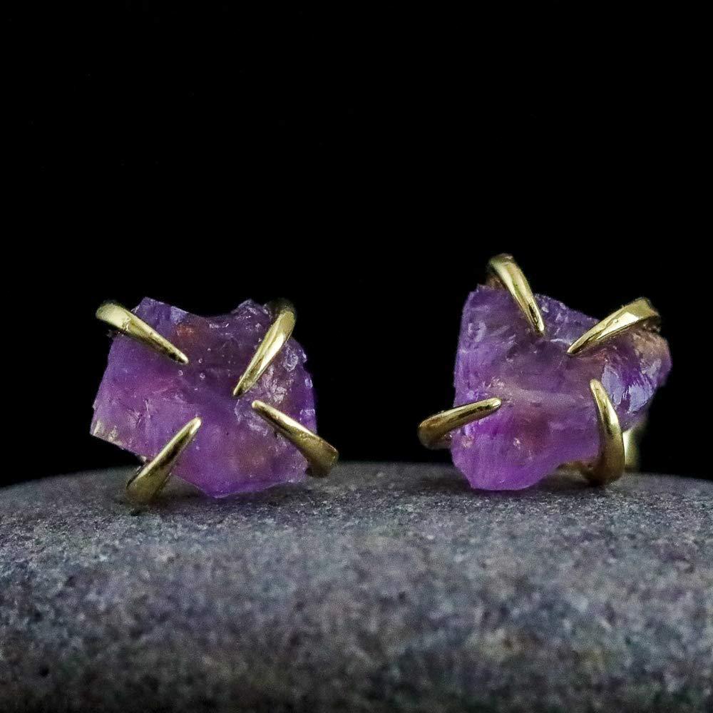 Raw Amethyst Prong Stud Earrings Genuine Purple Amethyst Gemstone February Birthstone Birthday Womens Jewelry Gift Idea