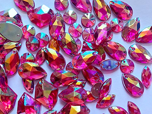 New Mixed Shape Size Rose Red Crystal Sew on Rhinestones Acryl Loose Beads Hand Sewing Strass 300pcs ()