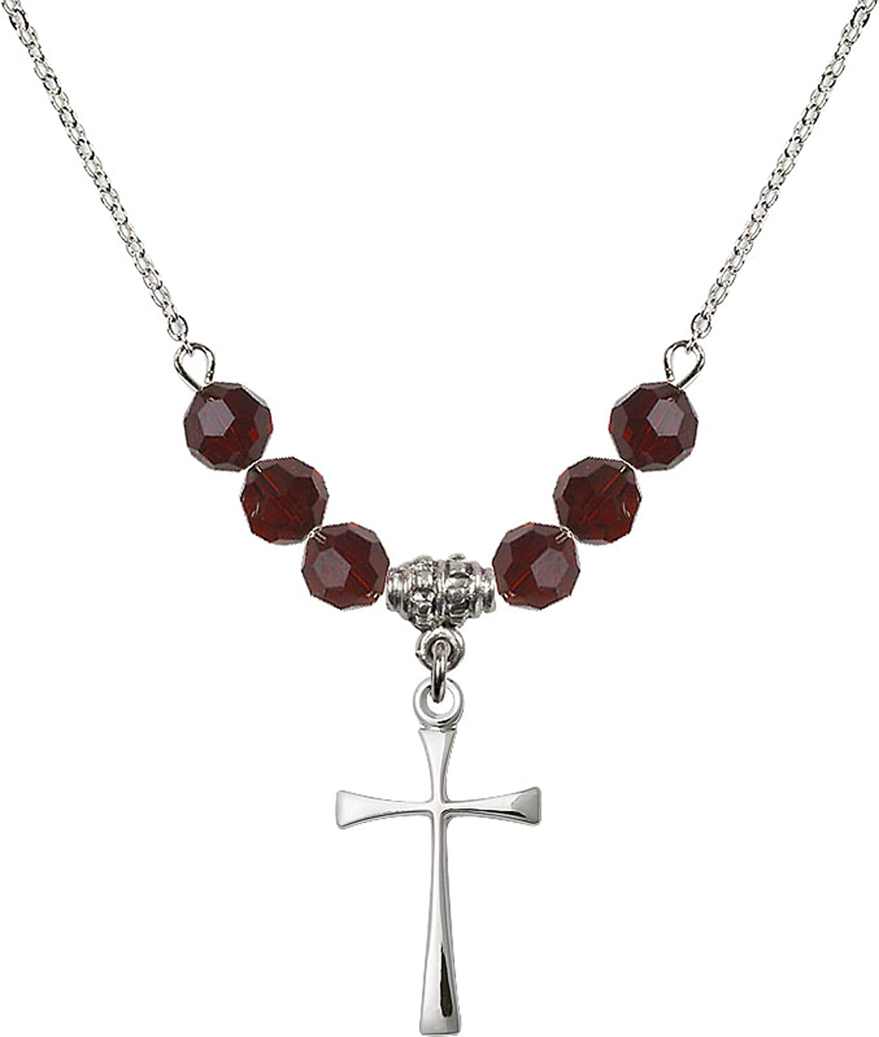 Bonyak Jewelry 18 Inch Rhodium Plated Necklace w// 6mm Red January Birth Month Stone Beads and Maltese Cross Charm