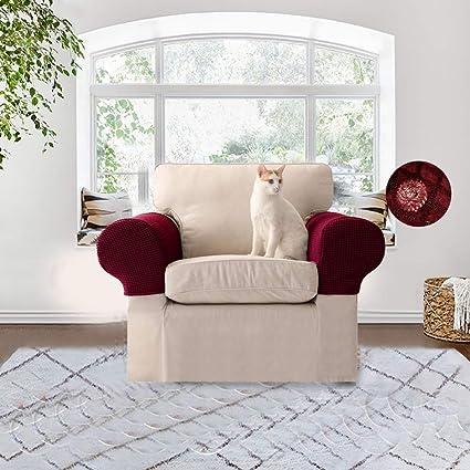 KOBWA Par de fundas Surtex para el reposabrazos del sofá y sillón de Tela elástica, Protectores de reposabrazos Antideslizantes para sillas, no se ...
