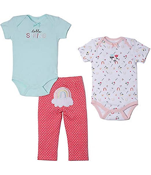 5c121447377d Amazon.com  Baby Gear Baby Girls 3-pc.Hello Spring Layette Set 3-6 ...