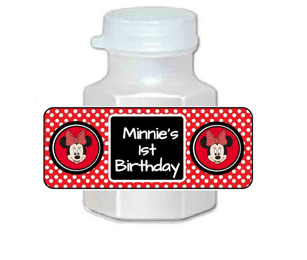 Personalized birthday party decorations or favors 30 Minnie Mouse bubble labels