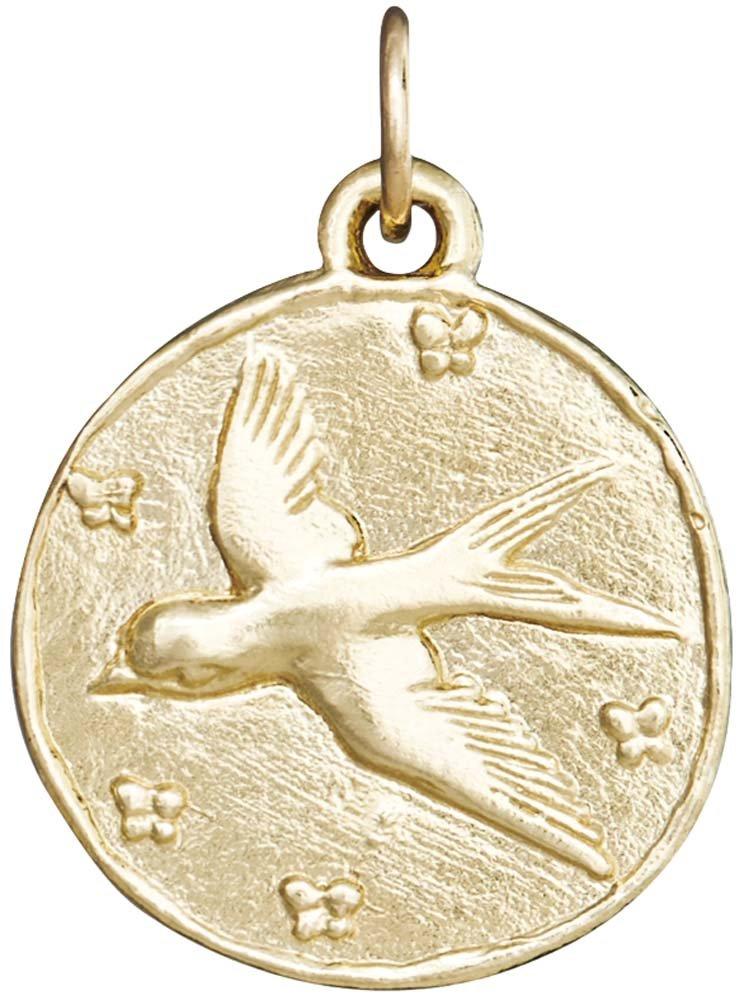 Helen Ficalora Swallow Coin Charm Yellow Gold