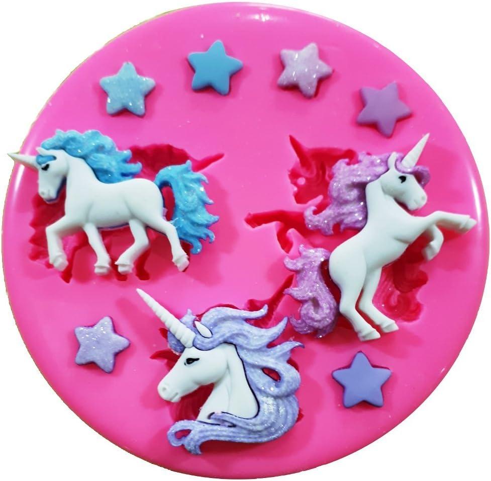 Unicornios m/ágicos y estrellas molde de silicona para decoraci/ón de dulces para tartas forma de personajes de Frozen