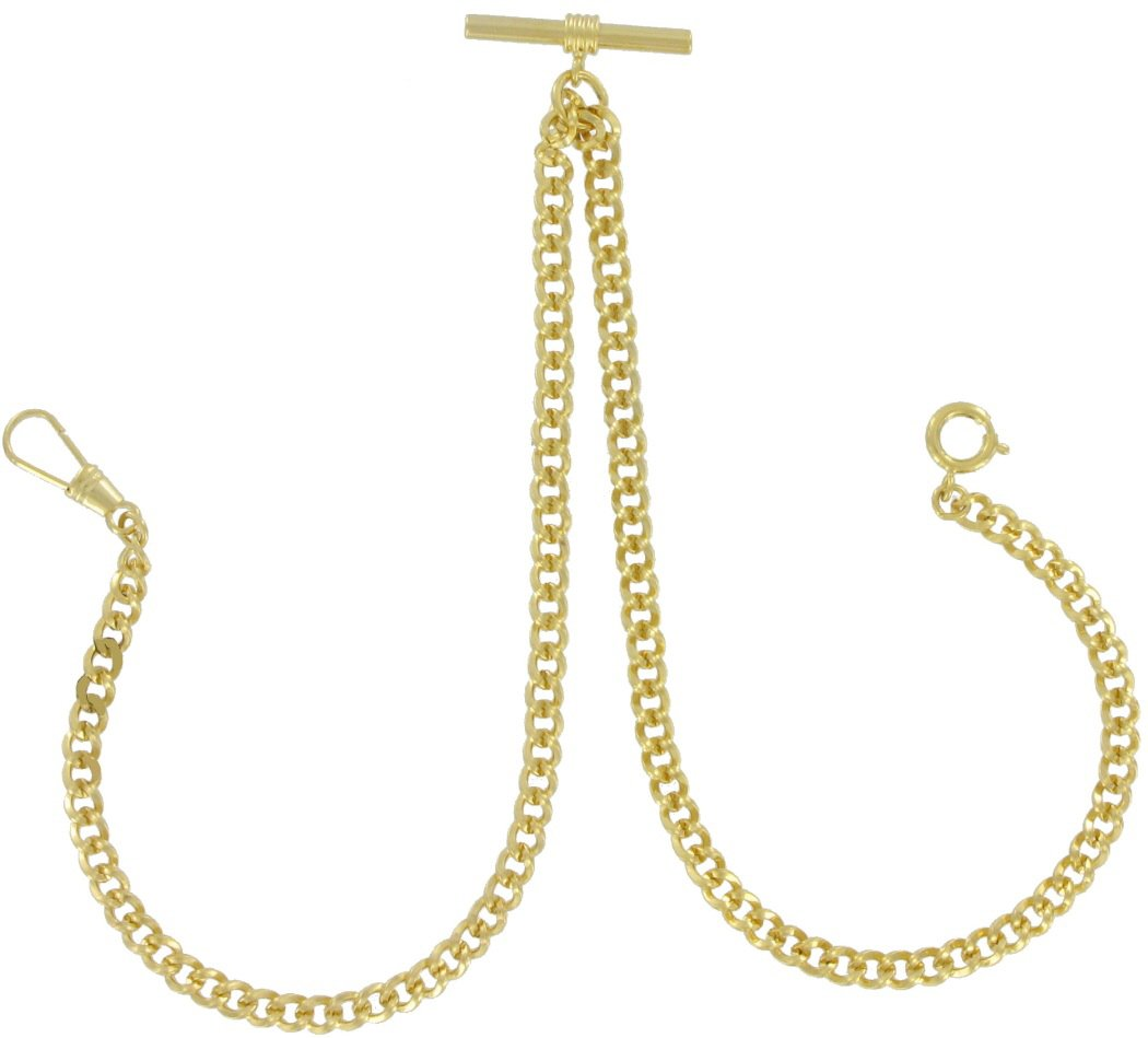 Ky & Co Yellow Gold Tone Curb Link Double Albert Pocket Watch Chain Mens Made in USA