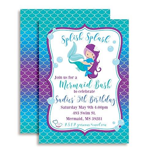 Magical Mermaid Custom & Personalized Birthday Party Invitations, Twenty 5