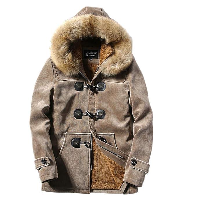 Yvelands Mens Winter Deer Terciopelo Piel Blusa Engrosamiento Abrigo Outwear Top(Caqui,XS)