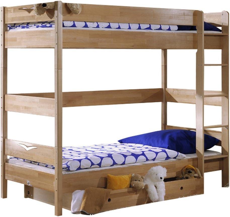 De paloma litera Oliver, de madera de haya, con diseño de tornillo-escalera, 182 cm (con cajones), haya, buche geölt, LIEGEFLÄCHE CA.90X190 CM: Amazon.es: Hogar