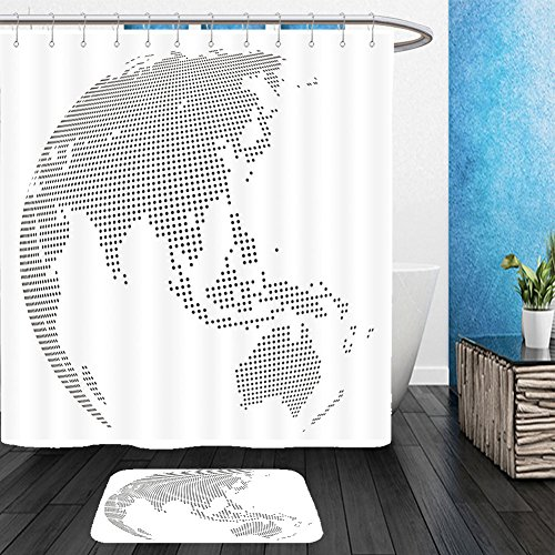 Vanfan Bathroom 2?Suits 1 Shower Curtains & ?1 Floor Mats abstract dotted globe central heating views over east asia 265447274 From Bath room - Costumes Of Different Countries In Asia