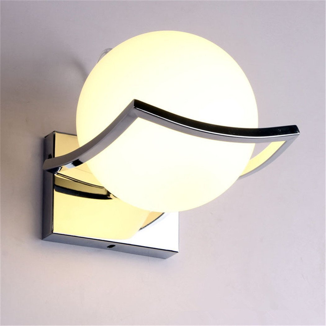 Geoco Glaskugel LED Wandleuchten Modern wandleuchte innen,Metall Edelstahl Halterung ,wandleuchten wohnzimmer ,Schlafzimmer,Gang