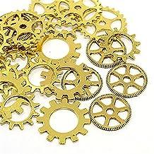 GraceAngie 30pcs/6sets Assorted Steampunk Gears Charms Gear Charms Metal Alloy Cog Pendants