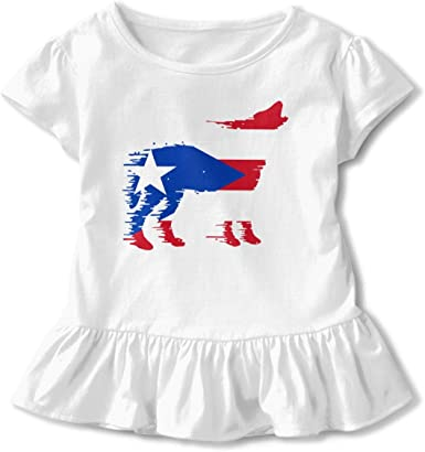Fishing American Flag Kids Girls Short Sleeve Ruffles Shirt T-Shirt for 2-6T