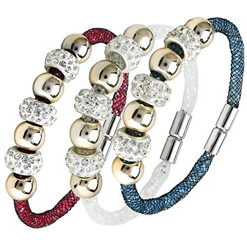 """JewelrieShop Bling Bling Assorted Crystal Rhinestone Bead Mesh Wrap Bangle Bracelet with Magnet Clasp 7.5"""""""