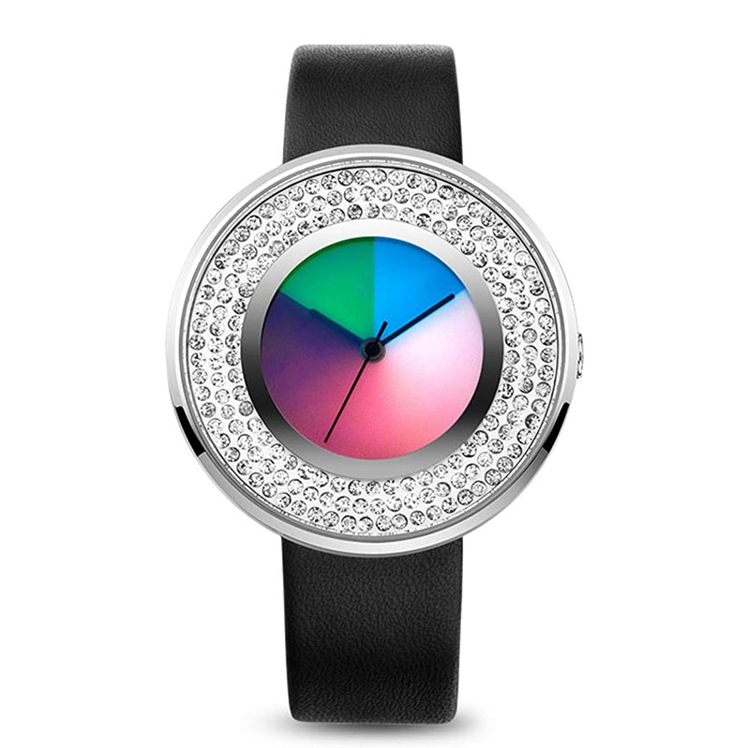 time2u Damen Fashion Concept minimalistisch Colorful Zifferblatt Business Frauen Quarzuhr Armbanduhr mit diamantenl