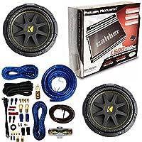 Amplifier Power Acoustik Re1 1500d 1 Ch Clase D 1500w Max W/ Pair of KICKER 10 600 Watt 4 Ohm Car Subwoofers 4 Gauge Amp Kit