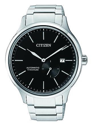 Citizen Reloj Analogico para Hombre de Mecánico con Correa en Titanio NJ0090-81E: Amazon.es: Relojes