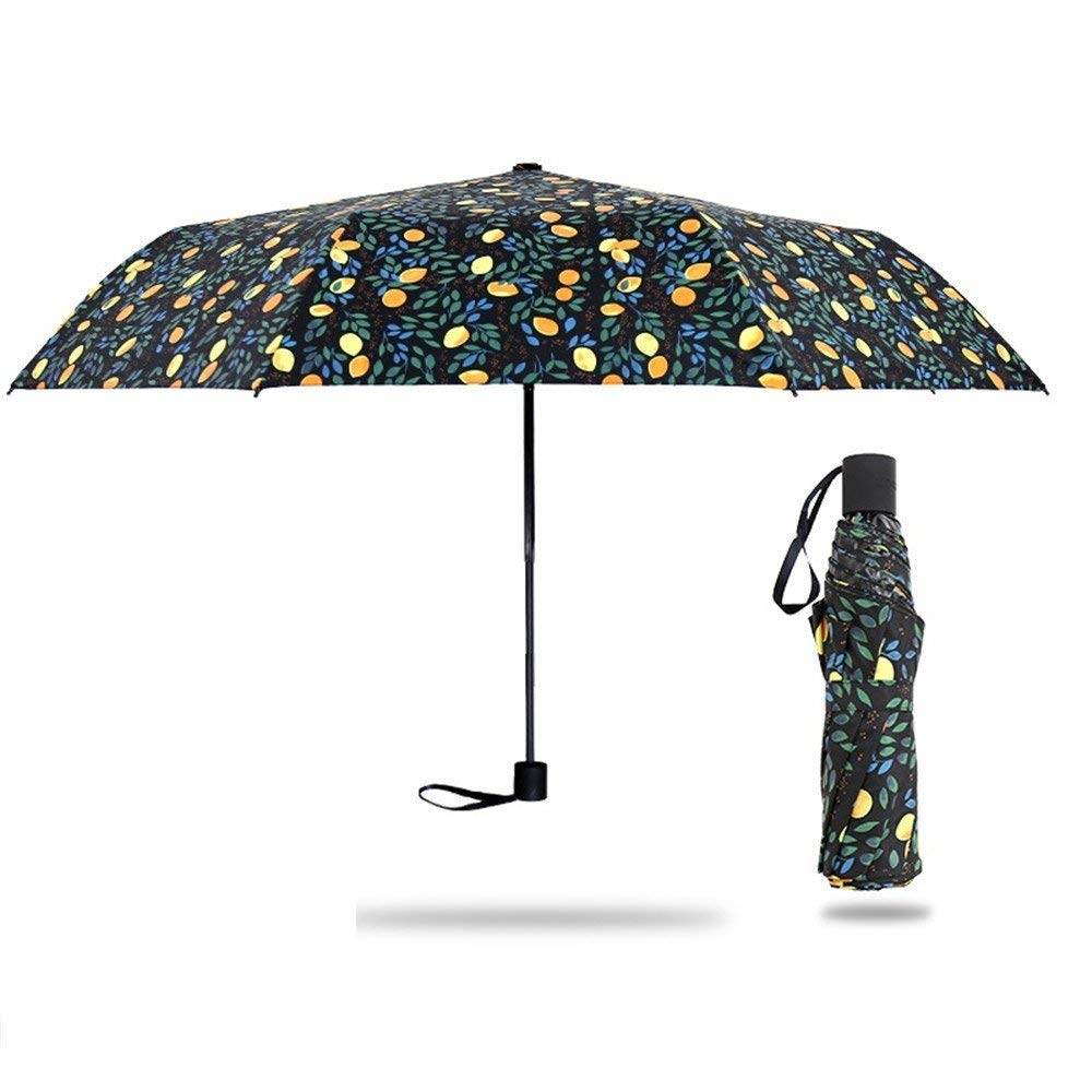 Gelaiken Sun Umbrella Multi Umbrella 25Cm Portable Compact Windproof Waterproof Brolly Sturdy Travel s with Lemon Pattern Printed Parasol Portable Umbrella Lightweight Umbrella (Color : B)