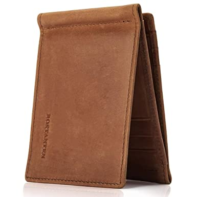 83d0bb5f8692 BOSTANTEN RFID Blocking Wallet Genuine Leather Slim Trifold Wallets for Men  Card Holder with 2 Money Clips Coffee