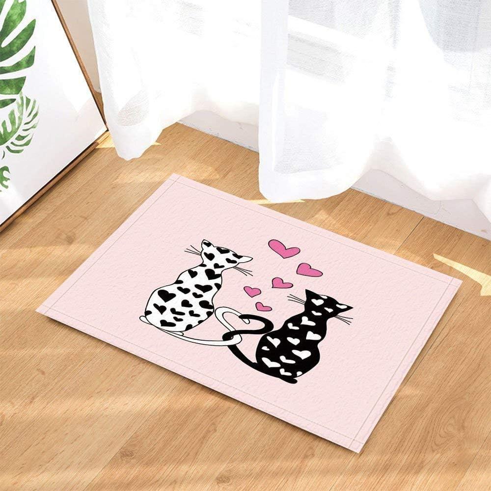 ZHANGSHUQI Negro Barba de los Hombres Fondo Blanco Damas Rosadas patrón de Labios gótico Cuadrado baño Puerta Antideslizante Alfombra Porche Interior Estera Accesorios para niños 40X60 CM