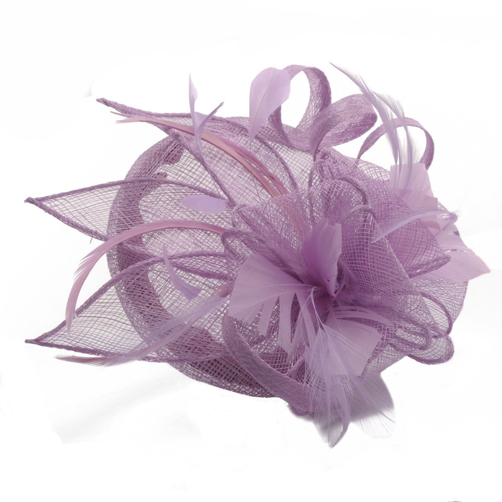 Women's Vintage Flower Fascinators Hat Hair Clip Feather Wedding Headware Bridal for Wedding Church Cocktail Party Headdress