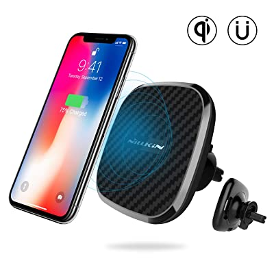 Nillkin Qi Wireless Car Charger - Magnetic Wireless Charger Car Mount, 10W Fast Charging Air Vent Phone Holder, Compatible for iPhone 11 Pro/XS/X/8 Plus,Samsung S10/S9/S8,Black