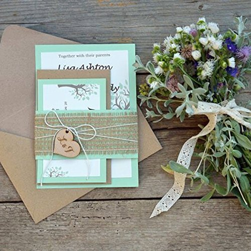Custom Rustic Wedding Invitation Kits decorated with burlap - Set of 20