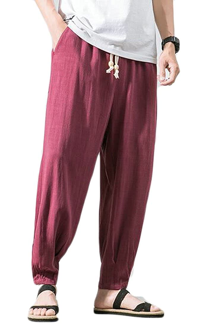 Gnao Mens Harem Baggy Cotton Linen Cotton Solid Trouser Leisure Pants