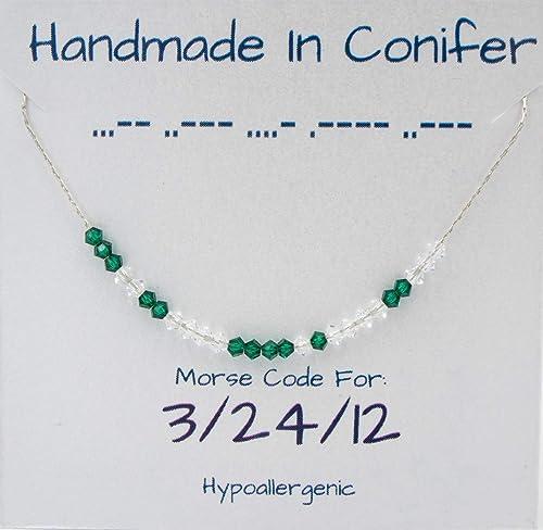 Amazon.com: Custom Swarovski Crystal DATE Morse Code Sterling ...