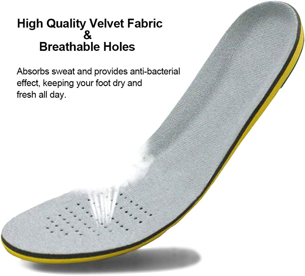 Climbing Hiking Velvet Surfaces Soft Inner Sole for Trainers Foot Pain Running Ailaka Shock Absorption Cushioning Sports Insoles for Men and Women