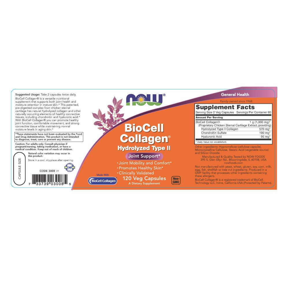 Now Foods Biocell Collagen Hydrolyzed Type Ii - 120 Vcaps ...