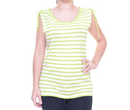 2d7aca3852eed Image Unavailable. Image not available for. Color  Michael Michael Kors  Lime Striped Cold-Shoulder Top M