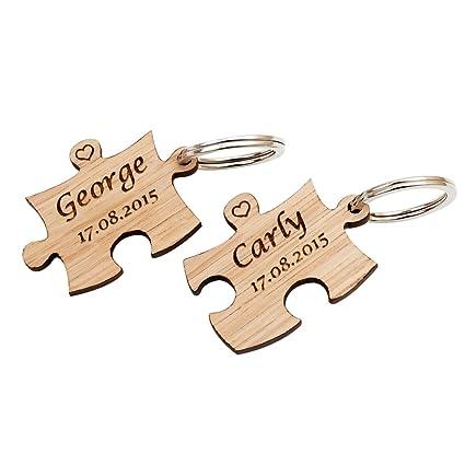 Juego de 2 llaveros de madera con forma de piezas de puzzle ...
