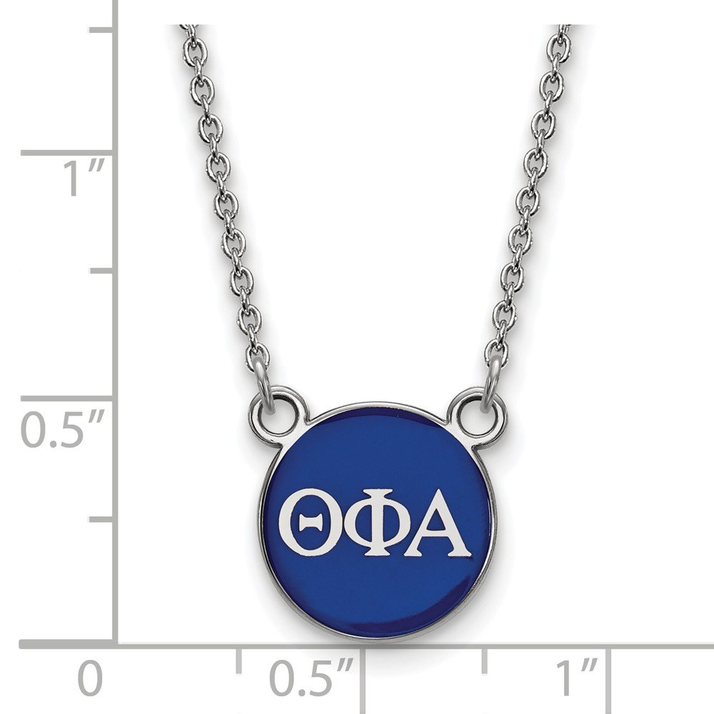 12mm Solid 925 Sterling Silver Theta Phi Alpha Extra Small Enl Pendant with Necklace