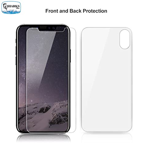 Sharksbox Iphone X Xs Screen Protector For Apple Iphone Xs Iphone X Hd Clear Front Back Tempered Glass Screen Protector Case Friendly Glass Screen