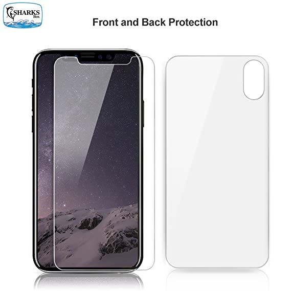 watch 407c2 6f247 SHARKSBox iPhone X/Xs Screen Protector for Apple iPhone Xs/iPhone X HD  Clear Front Back Tempered Glass Screen Protector[Case Friendly] Glass  Screen ...