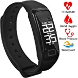 Fitness Tracker Activity Tracker Band with Oxygen Blood Pressure/Heart Rate/Sleep Monitor Pedometer Bluetooth Bracelet Waterproof Sports Smart Wristband with OLED Touch Screen for Android and iOS