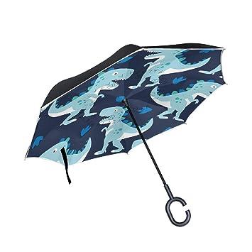 MAILIM Cute Azul Dinosaurios inverso inverso Paraguas Resistente al Viento Doble Capa, Mango C,