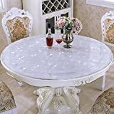 LovePads Multi Size Custom Round 2mm Thick Cosmos PVC Table Protector Cover Tablecloth 60 Inches (Dia. 152.4cm)
