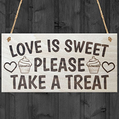 Love Is Sweet Please Take A Treat Cute Wedding Cake Table Center Piece Sign Wooden Plaque