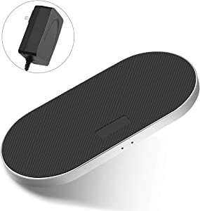 ZealSound 5 Coils Wireless Charger Charging Pad, Fast Quick Anti-Slip Silicon Metal Aluminum w/QC 3.0 Adapter Chargers Station Dock for Qi New AirPods Multiple Devices Can't Support 15W Phones-Black