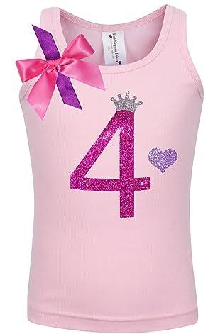 Bubblegum Divas Little Girls 4th Birthday Pink Princess Shirt 4