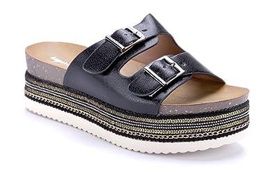 34f2bd1b421a3d Schuhtempel24 Damen Schuhe Pantoletten Sandalen Sandaletten Schwarz Flach  Schnalle Pailetten   Zierkette