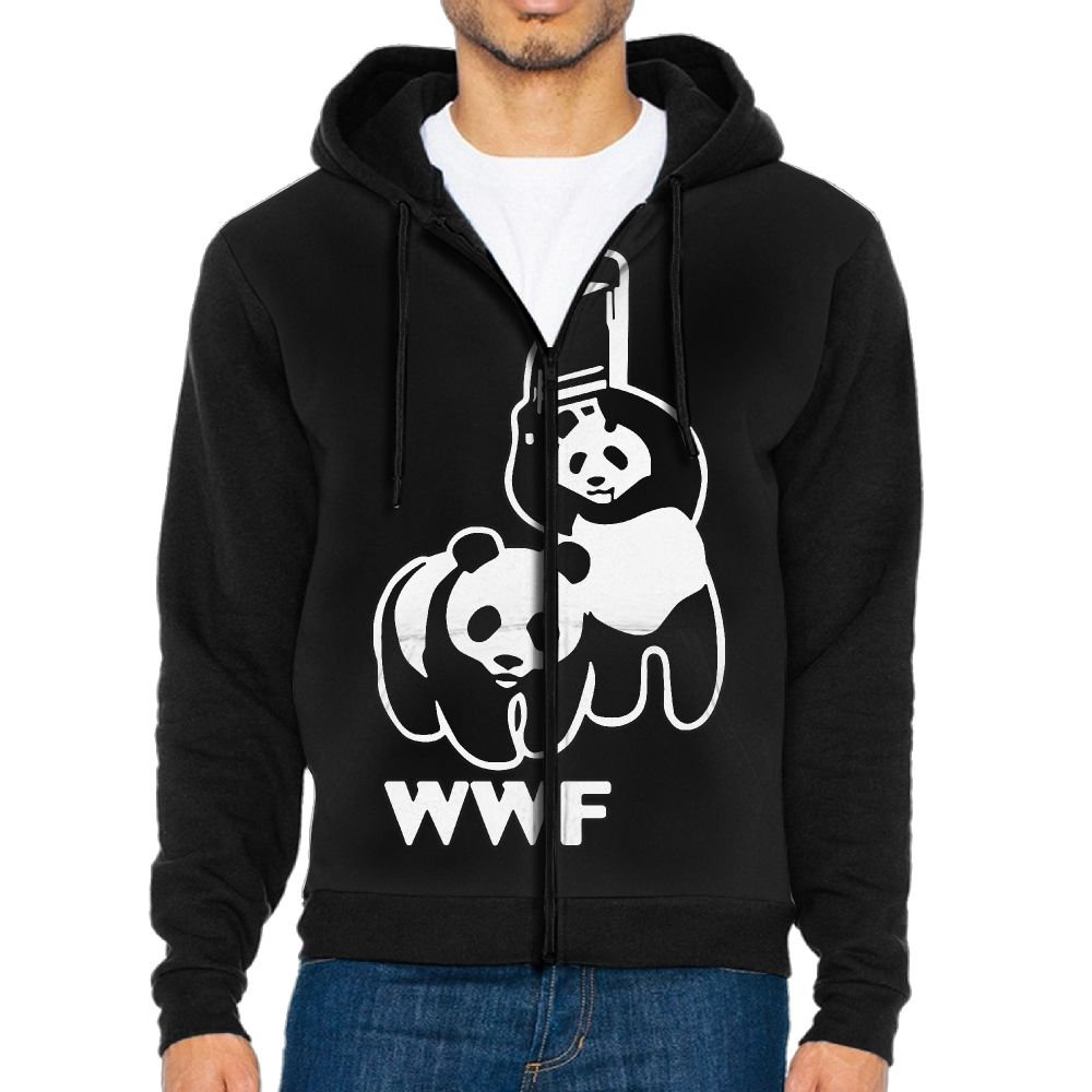 HM&MH Men's WWF Funny Panda Bear Wrestling Jogger Sports Hoodie Sweatshirt, Full Zip-Up Outer Jacket For Men