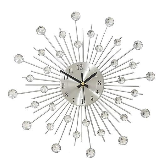 Mesa houlian shop Reloj de Pared de Metal Grande 3D Cristal ...