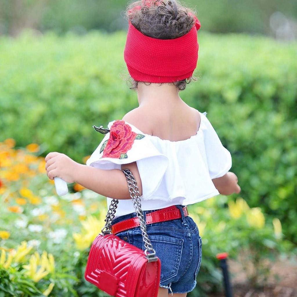 Hole Denim Shorts Pants 2PCS Little Girl Summer Fashion Denim Set Kids Baby Off Shoulder Embroidery Rose Tops