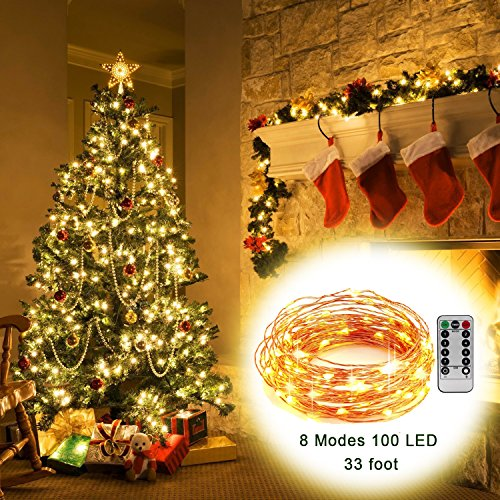 2 Light Set (AYG 2 Set LED String Lights,Fairy Lights Fairy String Lights Battery Operated Waterproof 8 Modes 100 LED 33foot Copper Wire Firefly Lights Remote Control for Gardens, DIY Party Decorative,Warm White)