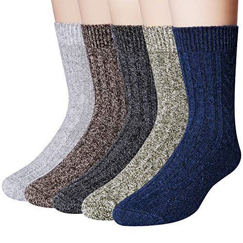 5 Pack Mens Winter Soft Warm Wool Knitting Cotton Casual Crew Socks (Cotton Wool Socks)