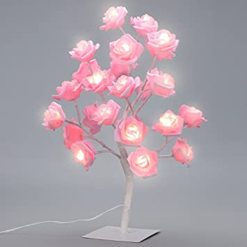 Table Lamp Rose Tree Lamp With AC Adapter Flexible Pink Flower - Flower lights for bedroom