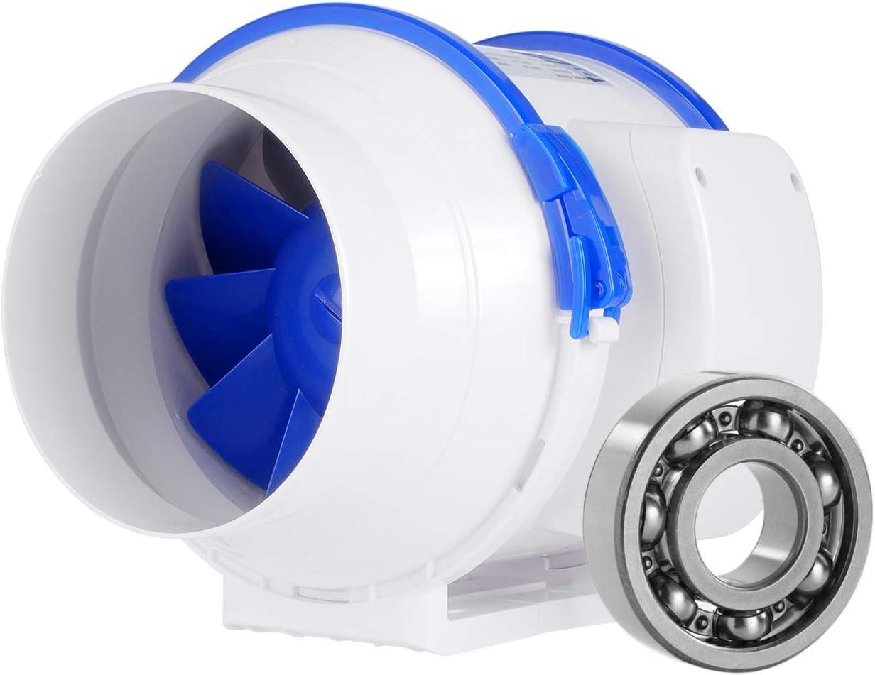 Hon&Guan Ventilador Extractor de Conducto en Línea para Baño, Invernaderos, Hidropónicos (ø125mm)